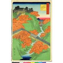 Utagawa Hiroshige II: Kyoto Tofuku-ji Tsuten-bashi 京都東福寺通天橋 / Shokoku Meisho Hyakkei 諸国名所百景 - British Museum