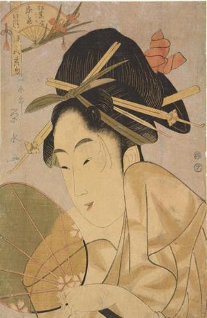 一楽亭栄水: The Courtesan Somenosuke of the Matsuba Establishment, from the series Beautiful Women for the Five Seasonal Festivals - ウィスコンシン大学マディソン校