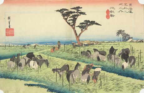 歌川広重: The Horse Market in the Fourth Month at Chiryu, no. 40 from the series Fifty-three Stations of the Tokaido (Hoeido Tokaido) - ウィスコンシン大学マディソン校