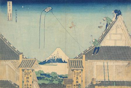 Katsushika Hokusai: A Partial View of the Mitsui Stores at Surugacho in Edo, from the series Thirty-six Views of Mt. Fuji - University of Wisconsin-Madison