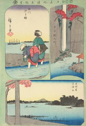 Utagawa Hiroshige: Gathering Shells at Low Tide at Susaki, Waterfall River at Oji, Suijin Grove and the Shrine at Massaki, from the series Harimaze of Pictures of Famous Places in Edo - University of Wisconsin-Madison