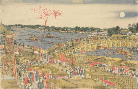 Katsushika Hokusai: A Newly Published Perspective Picture of People Watching Fireworks and Enjoying the Evening Cool at Ryogoku Bridge - University of Wisconsin-Madison