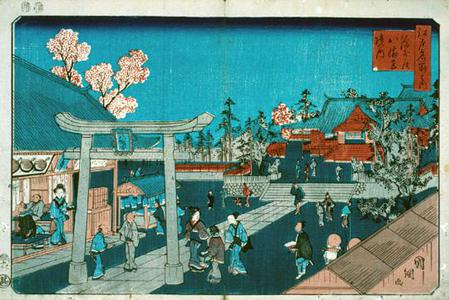 歌川国綱: Precincts of the Hachiman Shrine at Fukagawa, from the series Famous Places in Edo - ウィスコンシン大学マディソン校