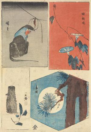 歌川広重: Fox Priest, Morning Glories, Basket and Camelia, and Moon and Pine Tree, from a series of Harimaze Prints - ウィスコンシン大学マディソン校