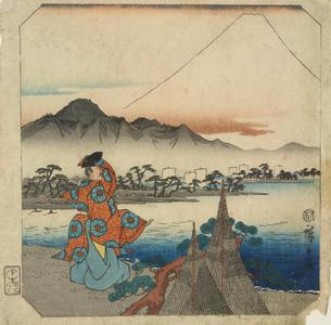 歌川広重: Poet viewing Mt. Fuji, from the series Fifty-three Pairs for the Tokaido Road - ウィスコンシン大学マディソン校