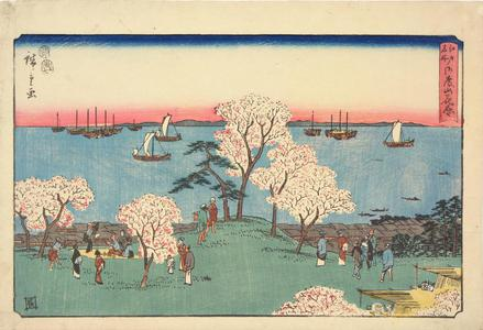 歌川広重: Cherry Trees in Full Bloom at Goten Hill, from the series Famous Places in Edo - ウィスコンシン大学マディソン校