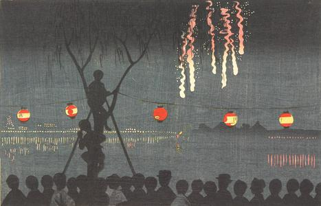 小林清親: Fireworks at Ikenohata - ウィスコンシン大学マディソン校