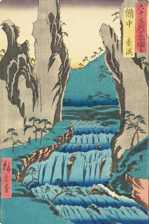 Utagawa Hiroshige: The Go Gorge in Bitchu Province, no. 48 from the series Pictures of Famous Places in the Sixty-odd Provinces - University of Wisconsin-Madison