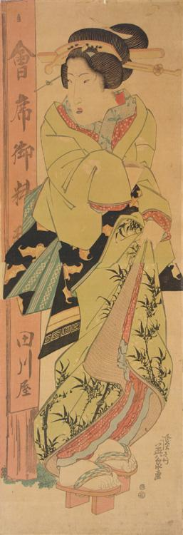 Keisai Eisen: Geisha Standing at the Entrance to the Tagawaya Restaurant - University of Wisconsin-Madison