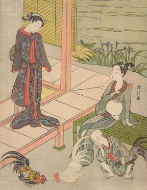 Suzuki Harunobu: Young Couple and Boy Watching a Cock Fight - University of Wisconsin-Madison