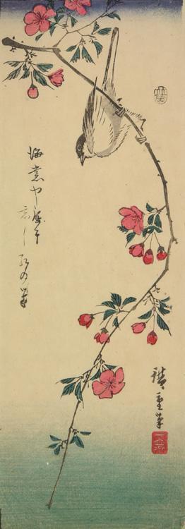 Utagawa Hiroshige: Great Titmouse on a Crab Apple Branch - University of Wisconsin-Madison