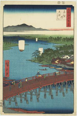Utagawa Hiroshige: The Great Bridge at Senju, no. 103 from the series One-hundred Views of Famous Places in Edo - University of Wisconsin-Madison