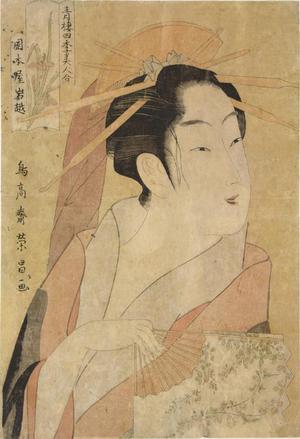 鳥高斎栄昌: The Courtesan Iwakoshi of the Okamoto Establishment, Summer from the series The Four Seasons and Beauties of the Licensed Quarters - ウィスコンシン大学マディソン校