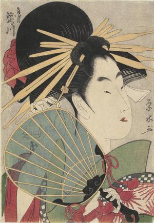 Ichirakutei Eisui: The Courtesan Takigawa of the Ogi Establishment, from a series of bust portraits of courtesans - University of Wisconsin-Madison