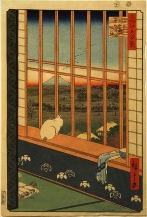 歌川広重: Asakusa Ricefields and Torinomachi Festival, no. 101 from the series One-hundred Views of Famous Places in Edo - ウィスコンシン大学マディソン校