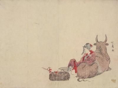 蹄斎北馬: Woman of Ohara Reclining Beside an Ox - ウィスコンシン大学マディソン校