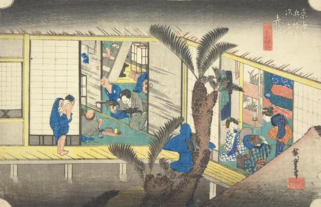 Utagawa Hiroshige: Travelers and Hostesses at an Inn at Akasaka, no. 37 from the series Fifty-three Stations of the Tokaido (Hoeido Tokaido) - University of Wisconsin-Madison