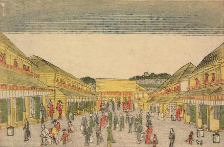 北尾政美: Evening View of the New Yoshiwara, from a series of Small Perspective Pictures of Edo - ウィスコンシン大学マディソン校