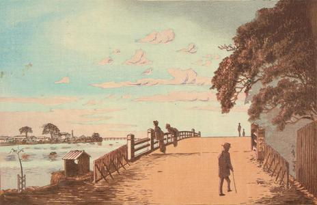 小林清親: Okura Bridge at Honjo - ウィスコンシン大学マディソン校