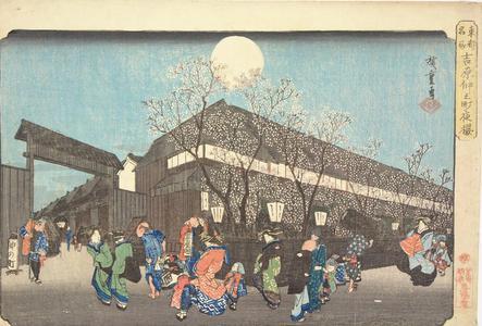 歌川広重: Cherry Trees at Night at Nakanocho in the Yoshiwara, from the series Famous Places in the Eastern Capital - ウィスコンシン大学マディソン校