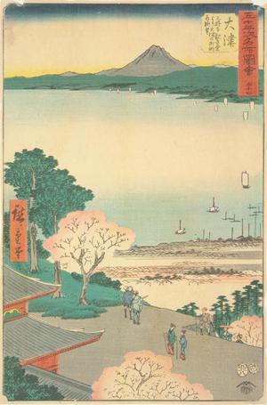 歌川広重: View of Lake Biwa and the Town of Otsu from the Kannon Hall at the Miidera in Otsu, no. 54 from the series Pictures of the Famous Places on the Fifty-three Stations (Vertical Tokaido) - ウィスコンシン大学マディソン校
