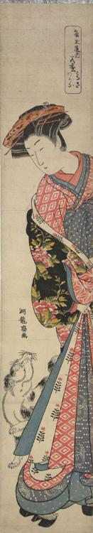磯田湖龍齋: The Courtesan Wakamatsu of the Kado Tama Establishment Looking at a Dog, from a series of Portraits of Courtesans - ウィスコンシン大学マディソン校
