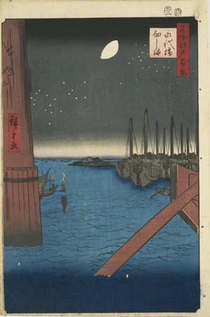 歌川広重: Tsukuda Island from Eitai Bridge, no. 4 from the series One-hundred Views of Famous Places in Edo - ウィスコンシン大学マディソン校