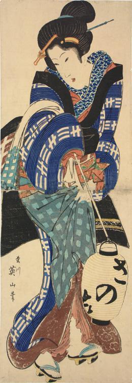 菊川英山: Geisha Holding a Lantern - ウィスコンシン大学マディソン校