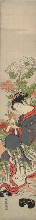 Isoda Koryusai: Young Woman Inscribing a Verse Beside Chrysanthemums - University of Wisconsin-Madison