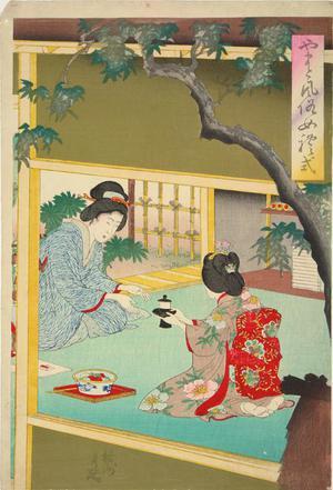豊原周延: Woman Taking Tea, from the series Customary Japanese Female Ettiquette - ウィスコンシン大学マディソン校