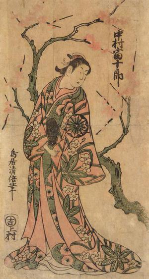 鳥居清倍: The Actor Nakamura Tomijuro I as a Young Woman Standing beneath a Plum Tree - ウィスコンシン大学マディソン校
