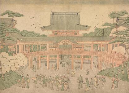 北尾政美: A Picture of the Central Hall at Toeizan in Edo, from the series Perspective Pictures - ウィスコンシン大学マディソン校