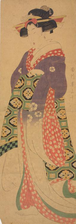 菊川英山: Young Woman with Long Sleeves - ウィスコンシン大学マディソン校