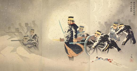 小林清親: Braving the Snow, Our Forces Capture the Stronghold at Weiheiwei - ウィスコンシン大学マディソン校