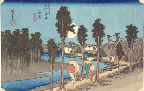 Utagawa Hiroshige: Twilight at Numazu, no. 13 from the series Fifty-three Stations of the Tokaido (Hoeido Tokaido) - University of Wisconsin-Madison