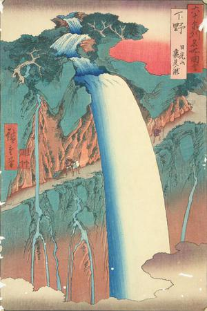 歌川広重: The Urami Waterfall in the Nikko Mountains in Shimozuke Province, no. 27 from the series Pictures of Famous Places in the Sixty-odd Provinces - ウィスコンシン大学マディソン校