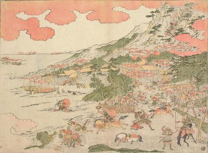 Kitao Masayoshi: A Picture of the Descent from Hiyodori Pass and the Battle on the Beach at Ichinotani in Settsu Province, from the series Perspective Pictures - University of Wisconsin-Madison