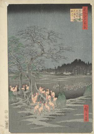 Utagawa Hiroshige: Fox Fires on New Year's Eve at the Shozoku Hackberry Tree in Oji, no. 118 from the series One-hundred Views of Famous Places in Edo - University of Wisconsin-Madison
