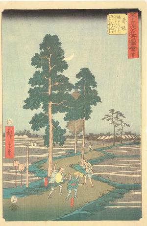 歌川広重: Yajiro Mistakes Kitahachi for a Fox and Beats Him on the Nawate Road near Akasaka, no. 37 from the series Pictures of the Famous Places on the Fifty-three Stations (Vertical Tokaido) - ウィスコンシン大学マディソン校