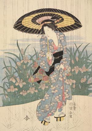 歌川国安: Woman in Rainfall - ウィスコンシン大学マディソン校