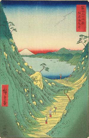 歌川広重: Shiojiri Pass in Shinano Province, no. 29 from the series Thirty-six Views of Mt. Fuji - ウィスコンシン大学マディソン校