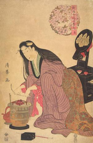 二代目鳥居清満: Woman Kneeling by a Brazier, Spring from the series A New Publication of Modern Flowers for the Four Seasons - ウィスコンシン大学マディソン校