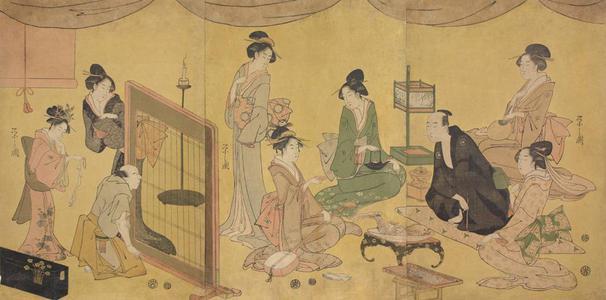 細田栄之: Geisha and Comedian Entertaining a Client - ウィスコンシン大学マディソン校
