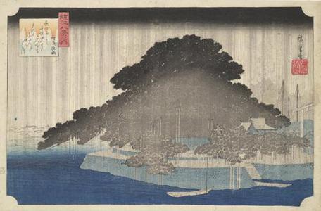 歌川広重: Night Rain at Karasaki, from the series Eight Views of Omi Province - ウィスコンシン大学マディソン校