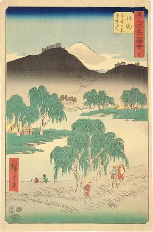 歌川広重: Motosaka Pass and Motono Plain near Goyu, no. 36 from the series Pictures of the Famous Places on the Fifty-three Stations (Vertical Tokaido) - ウィスコンシン大学マディソン校