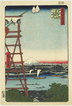 Utagawa Hiroshige: Ryogoku Ekoin and Moto Yanagi Bridge, no. 5 from the series One-hundred Views of Famous Places in Edo - University of Wisconsin-Madison