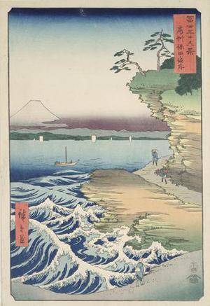 Utagawa Hiroshige: The Hoda Coast in Awa Province, no. 36 from the series Thirty-six Views of Mt. Fuji - University of Wisconsin-Madison
