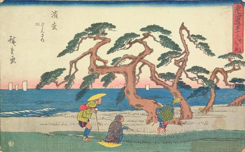 歌川広重: The Murmuring Pines at Hamamatsu, no. 30 from the series Fifty-three Stations of the Tokaido (Gyosho Tokaido) - ウィスコンシン大学マディソン校