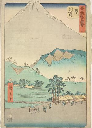 Utagawa Hiroshige: Mt. Fuji and Mt. Ashitaka from Hara, no. 14 from the series Pictures of the Famous Places on the Fifty-three Stations (Vertical Tokaido) - University of Wisconsin-Madison