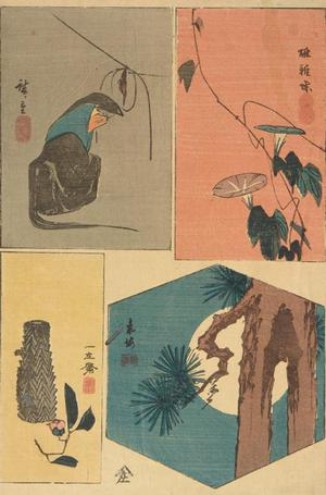 Utagawa Hiroshige: Fox Priest, Morning Glories, Basket and Camelia, and Moon and Pine Tree, from a series of Harimaze Prints - University of Wisconsin-Madison